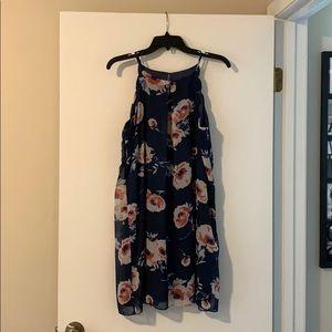 Dillard's Navy Blue Floral Dress